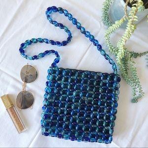 Blue Beaded Bag